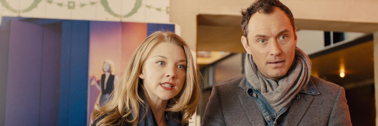 Natalie Dormer and Jude Law stand in the Young Vic's Box Office