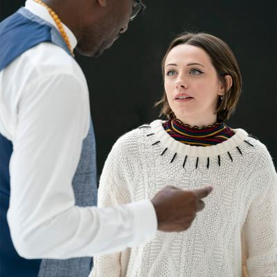 Kwame Kwei-Armah and Melissa Allan in rehearsals for Twelfth Night. Photo by Johan Persson