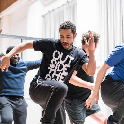 Cast in rehearsals for Jesus Hopped the 'A' Train (c) Johan Persson