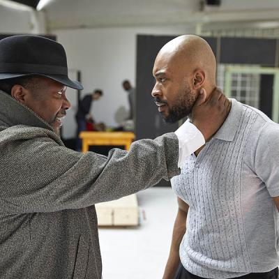 Wendell Pierce and Arinzé Kene in rehearsal for Death of a Salesman, Young Vic 2019