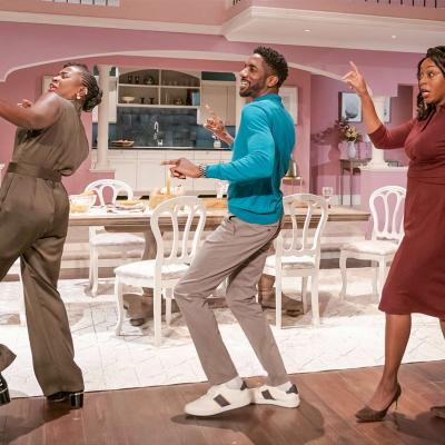 Naana Agyei-Ampadu, Rhashan Stone and Nicola Hughes in Fairview at the Young Vic. Photo by Marc Brenner.