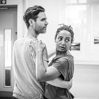 Luke Norris and Amaka Okafor in Nora: A Doll's House in rehearsal (c) Marc Brenner