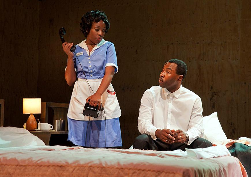 Gbolahan Obisesan and Ronke Adékoluejo in The Mountaintop at the Young Vic. Photo by David Sandison
