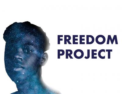 The outline of a boy with night skyline. Title text in dark blue, Freedom Project